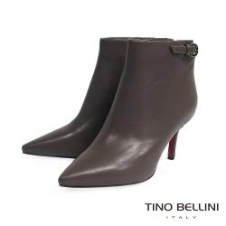 Tino Bellini 都會俐落後釦鏤空高跟短靴_灰