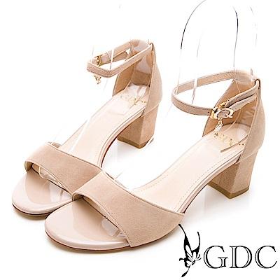 GDC-氣質高雅羊絨一字繞帶低跟涼鞋-裸色