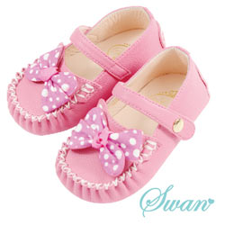 Swan天鵝童鞋-可愛點點荔枝紋豆豆鞋 1482-粉