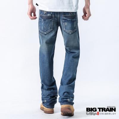 BIG TRAIN-低腰貼布垮褲-淺藍