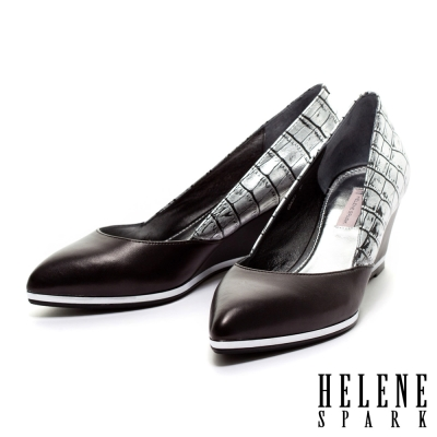 HELENE-SPARK-金屬風異材質拼接羊皮尖頭