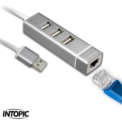 INTOPIC USB2.0&RJ45鋁合金集線器HBC-28