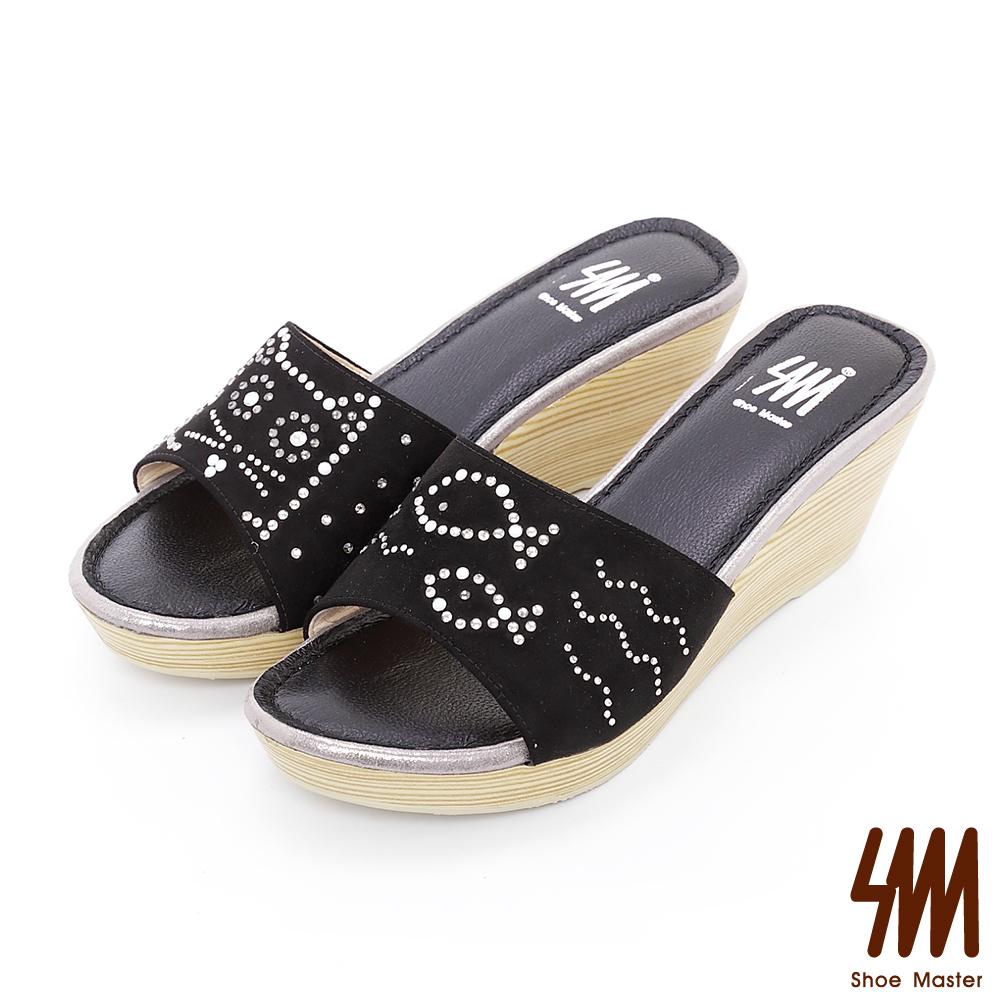 SM-童趣系列-貓咪看魚水鑽厚底楔型拖鞋-黑色