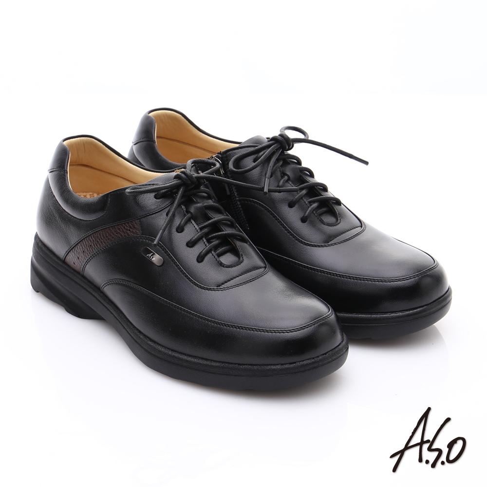 A.S.O 超能耐 綿羊皮奈米氣墊休閒皮鞋 黑色