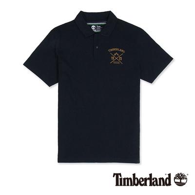 Timberland-男款深藍色刺繡字樣短袖Polo衫