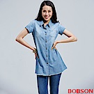 BOBSON 女款牛仔長版襯衫