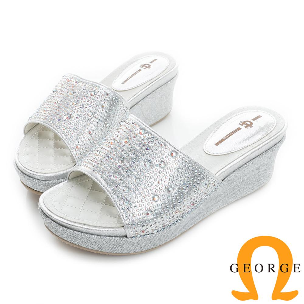 GEORGE喬治皮鞋-閃耀迷人水鑽拼貼楔型厚底涼拖鞋-銀色