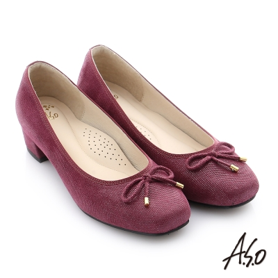 A.S.O 個性美型 絨面羊皮立體蝴蝶結真皮質感中跟鞋 紫色