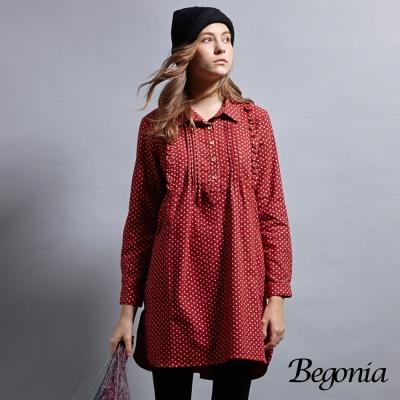 Begonia 打褶印花刷毛長版上衣(共兩色)
