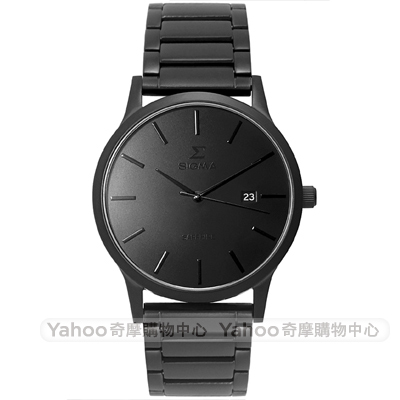 SIGMA簡約藍寶石鏡面時尚男手錶-黑/42mm