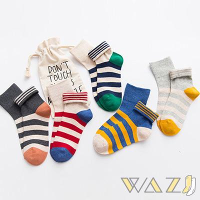 Wazi-反折兩穿活力撞色橫條中筒襪 (1組五入)