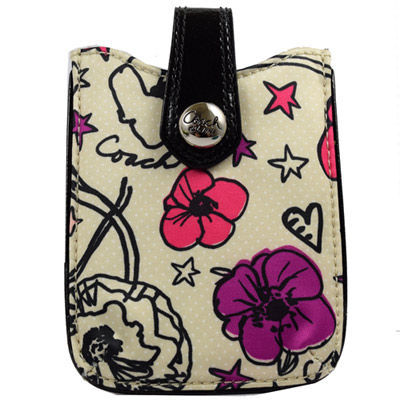 COACH 新款彩繪花朵塗鴉緞面皮飾邊手機套.白邊