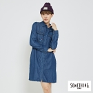 SOMETHING 趣味長版開衩襯衫-女-中古藍