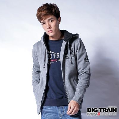 BIG TRAIN 文字貼布繡連帽針織外套-男-麻灰