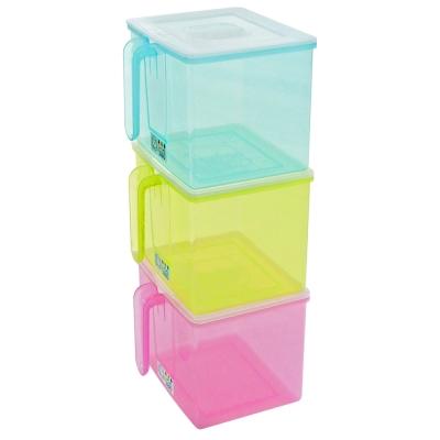 【創意達人】透明附蓋握把儲物盒4入