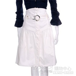 PAOLA FRANI 白色排釦高腰及膝裙