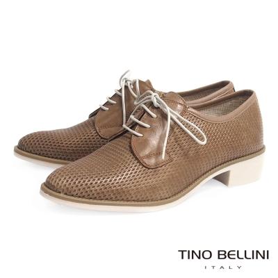 Tino Bellini 西班牙進口獨特皮雕綁帶低跟皮鞋_駝