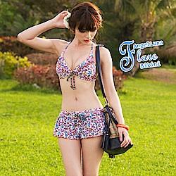 【AngelLuna日本泳裝】小碎花兩件式比基尼泳衣-白色