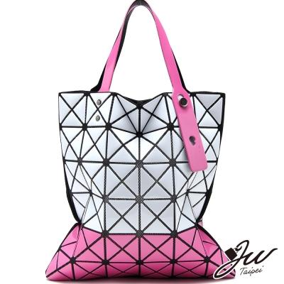 JW魔幻漆皮橫式雙色幾何拼貼包-白配桃-快
