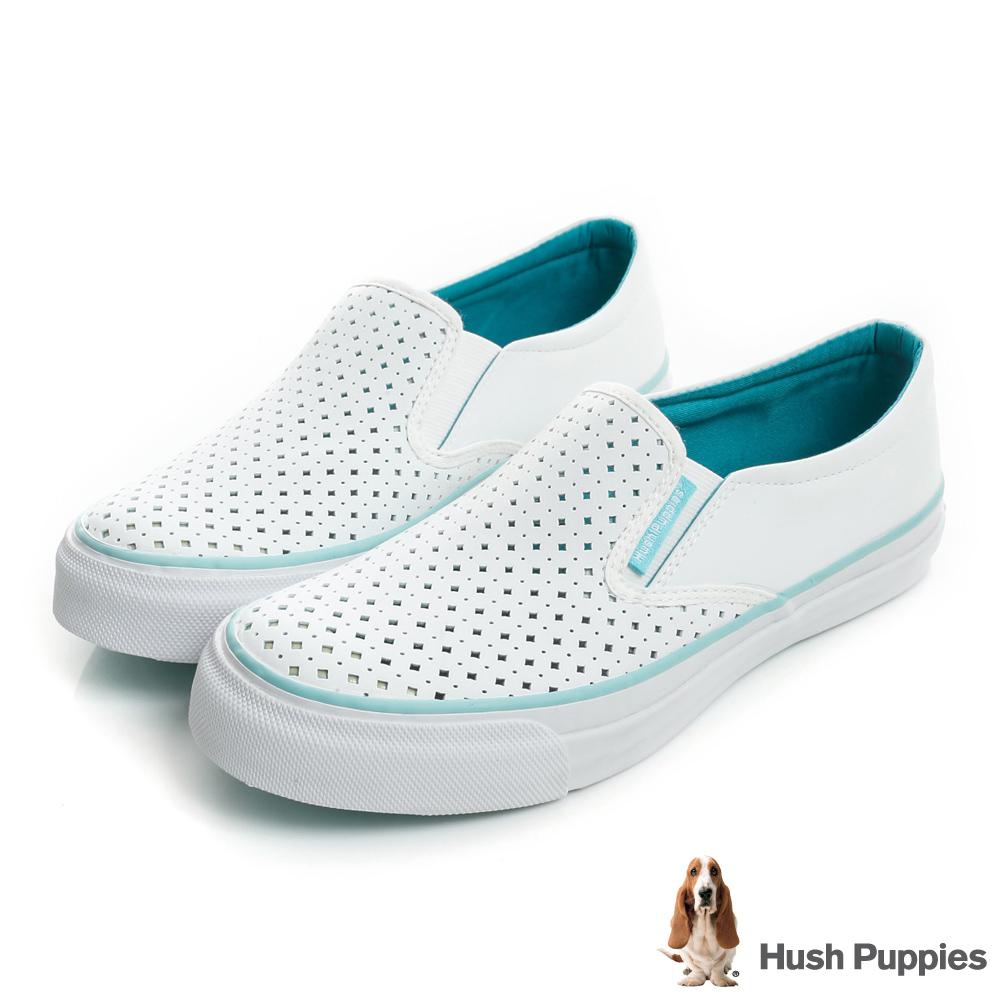 Hush Puppies 涼感沖孔咖啡紗皮質中性懶人鞋-白/湖綠