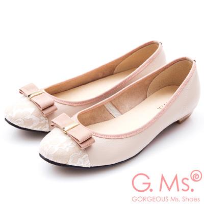 G.Ms. MIT系列-蕾絲織帶蝴蝶結娃娃鞋-粉紅