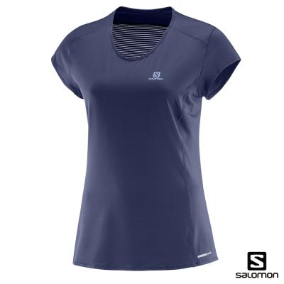 Salomon 短袖T恤 女 COMET PLUS 藍