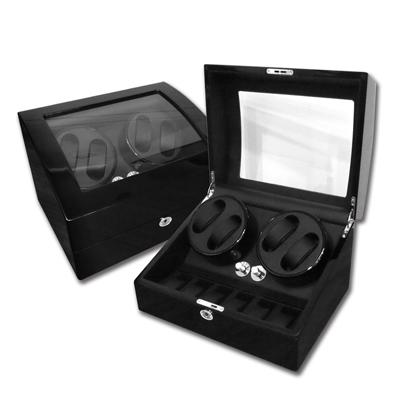 機械錶自動上鍊收藏盒 2旋4入錶座轉動+6入收藏 鋼琴烤漆 - 黑色