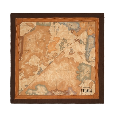 Alviero Martini 義大利地圖 經典地圖邊框配色方巾-深咖(90X90)