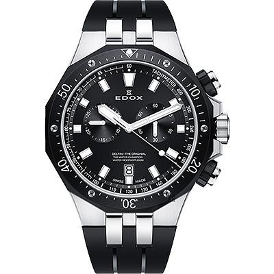 EDOX Delfin 水上冠軍專業200米防水計時碼錶-黑錶圈/43mm
