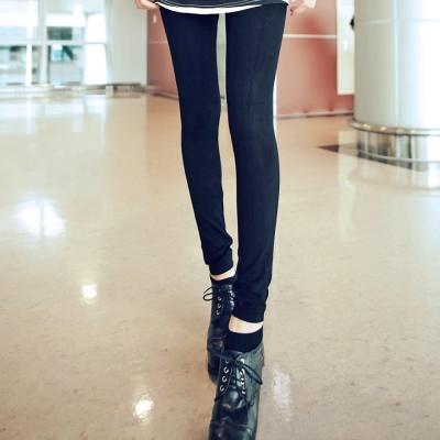 La Belleza韓版細腿厚棉純黑彈性美體褲內搭褲