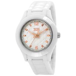NATURALLY JOJO 法式情緣菱格紋白陶瓷腕錶-玫瑰金/37mm