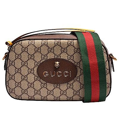 GUCCI 經典虎頭標誌GG Supreme帆布印花綠紅綠織背帶皮革飾邊拉鍊手拿/斜背包