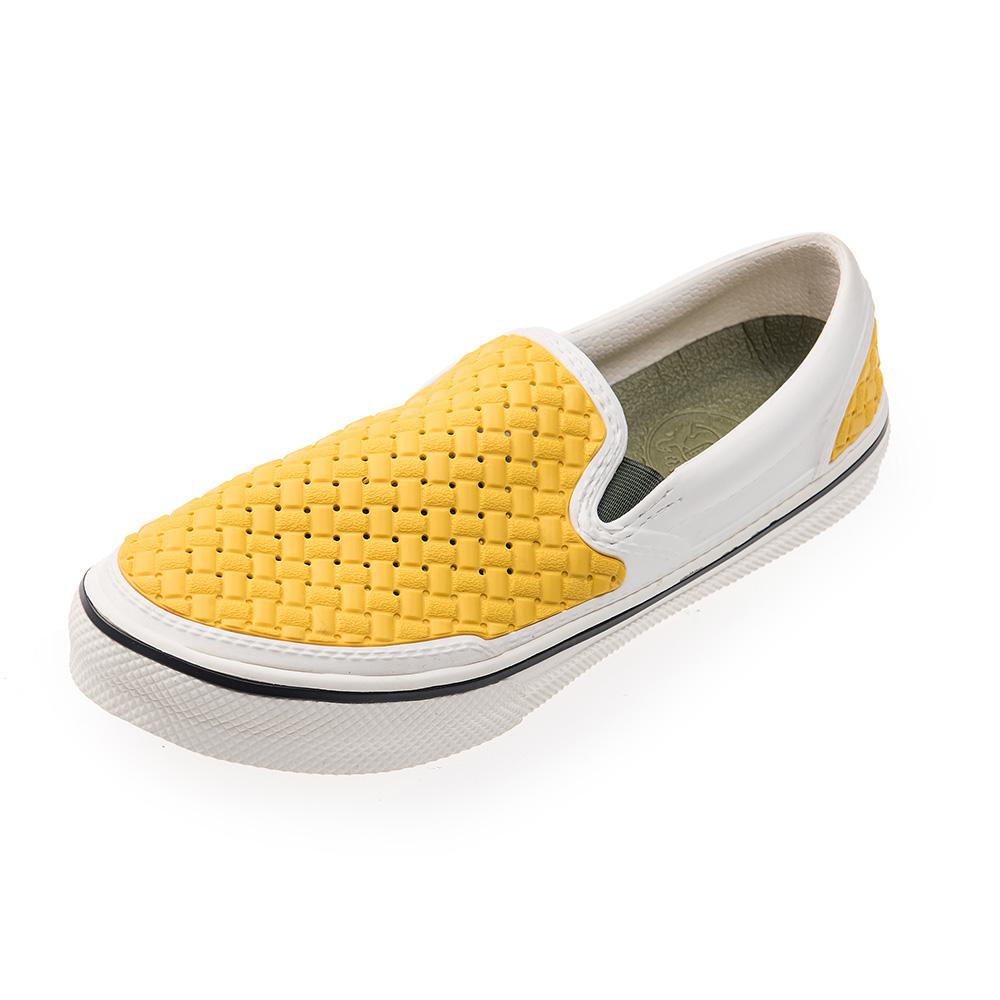 (男/女)Ponic&Co美國加州環保防水編織懶人鞋-白黃