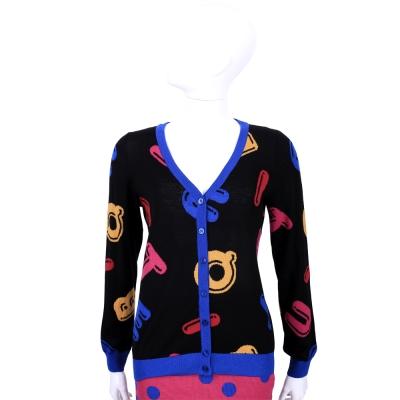 BOUTIQUE MOSCHINO 黑藍拼色多彩LOGO針織外套(100%LANA)