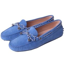 TOD'S Gommino 撞色編織綁帶豆豆休閒鞋(丹寧藍)
