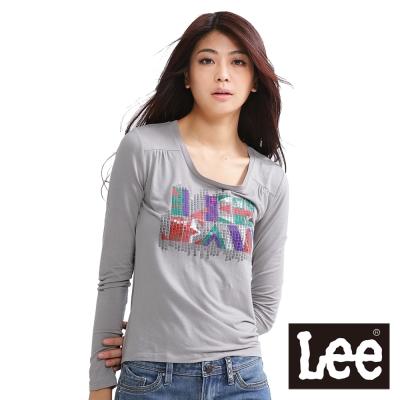 Lee 帥氣有型,亮片加文字印刷長袖T恤-女款(灰)