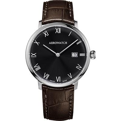 AEROWATCH Heritage系列尊爵時尚石英腕錶-黑x咖啡/40mm