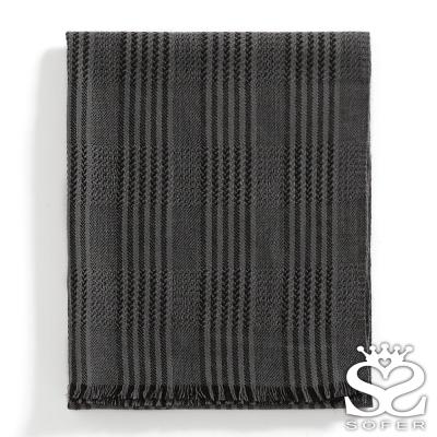 SOFER-率性條紋100-羊毛保暖圍巾-大海藍