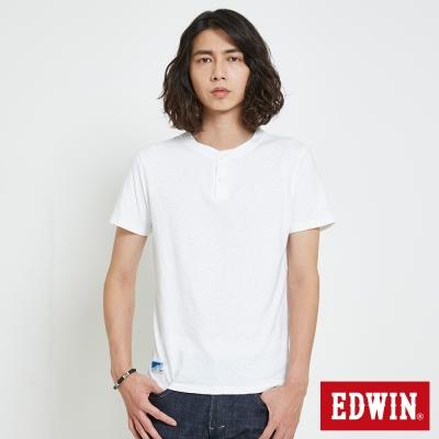 EDWIN 簡約亨利領T恤-男-白色