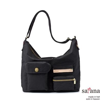 satana - 簡單生活Hobo斜背包 - 黑色