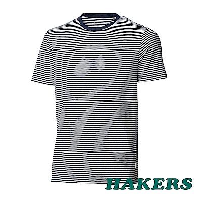 【HAKERS】男-抗UV條紋短袖衫-丈青