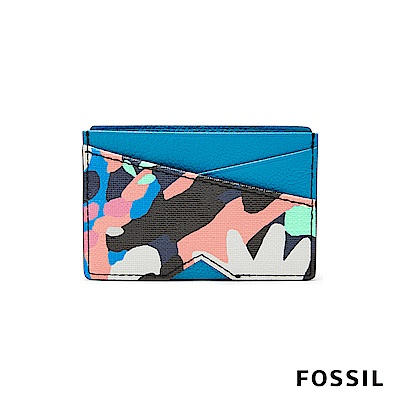 FOSSIL GIFT塗鴉調色盤真皮名片夾-土耳其藍