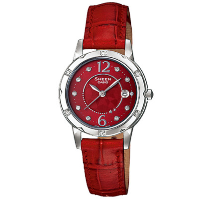 SHEEN 熱情如火施華洛世奇水晶腕錶(SHE-4021L-4A)-紅/28mm