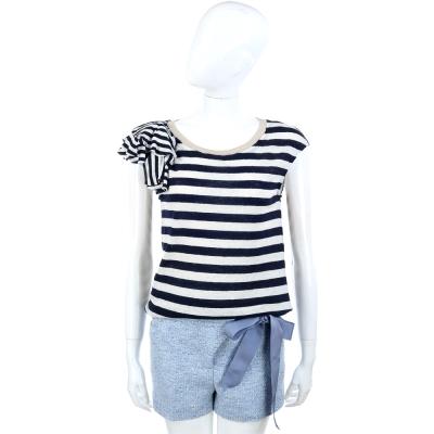 SCERVINO 藍白條紋荷葉袖麻料T恤