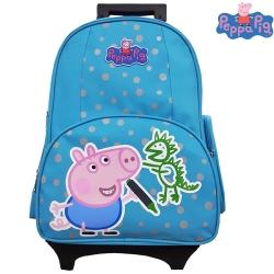 【Peppa Pig 粉紅豬】喬治可拆式鋁合金拉桿書包(天空藍_恐龍款_PP-5722)