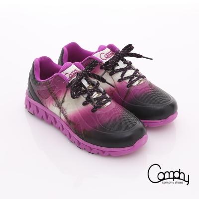 Comphy 超輕漫步 漸層圖騰印刷布料綁帶運動鞋 紫色