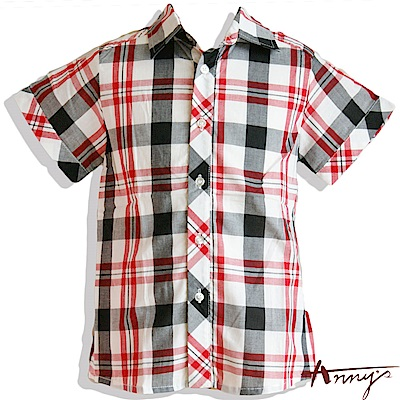 Annys英倫格紋素面短袖襯衫*1381黑