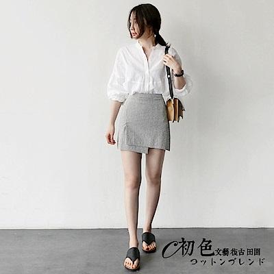 純色立領七分袖上衣-白色(M-XL可選)     初色