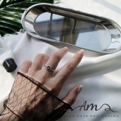 AM輕飾品 愛心結純銀戒指 開口戒 活圍戒