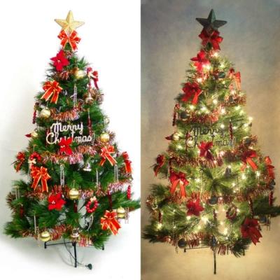 台製5尺(150cm)特級綠松針葉聖誕樹(紅金色系+100燈鎢絲清光2串)